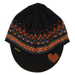 ハートストリングつば付ニットキャップ Cool max | ブラック×オレンジ
