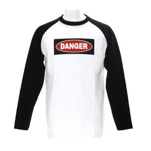 DANGER ロングTシャツ | ホワイト×ブラック