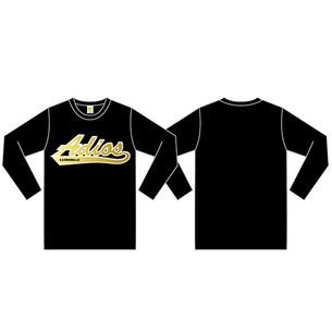ロングTシャツ/Adios | ブラック/ゴールド