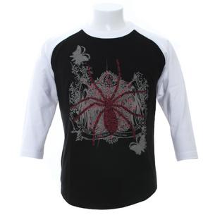 7分袖Tシャツ/spider | ブラック×ホワイト