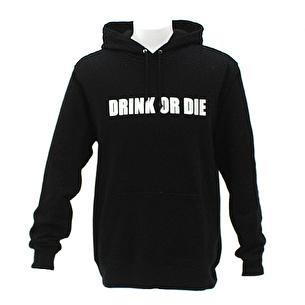 プルオーバーパーカー/DRINK OR DIE | ブラック