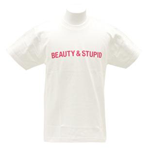 Tシャツ/BEAUTY & STUPID | ホワイト×ピンク