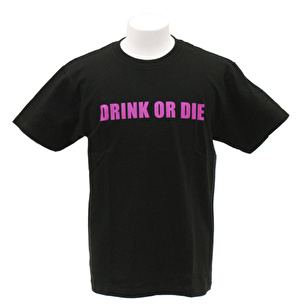 Tシャツ/シンプルDRINK OR DIE | ブラック×パープル