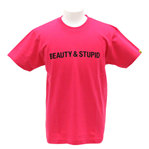 Tシャツ/BEAUTY&STUPID | ホットピンク×ブラック