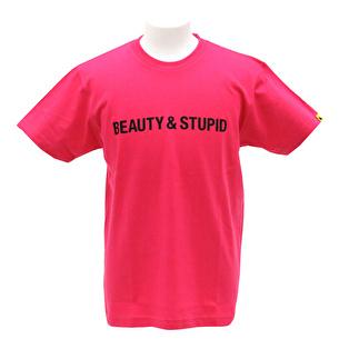 Tシャツ/BEAUTY&STUPID | ホットピンク×ブラック